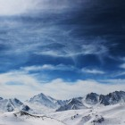 edit of mountains blue sky